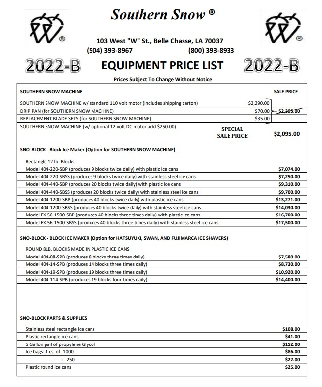 Flavor Snow Equipment Price List