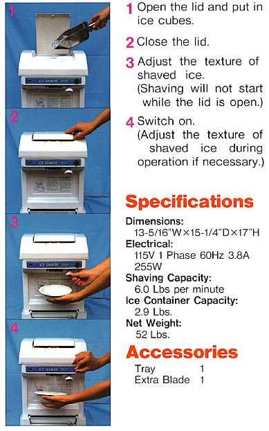Cube ice shaver specifications